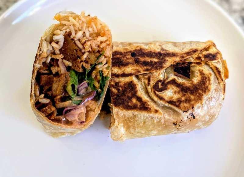 Barbecue beef burrito
