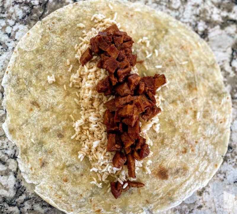 Step 1 barbecue seitan burrito