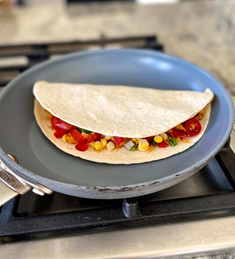 cooking the vegan quesadilla