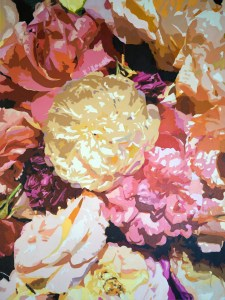 """""""Shades of Roses"""" 36"""" x 48"""" Oil on Canvas: $1,500.00"""