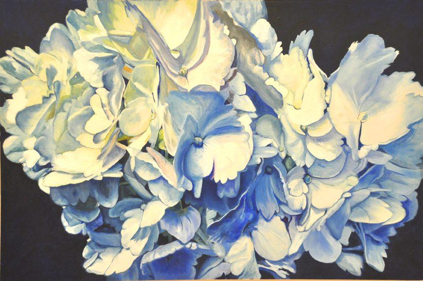 Hydrangeas #2, Blue, White, Green