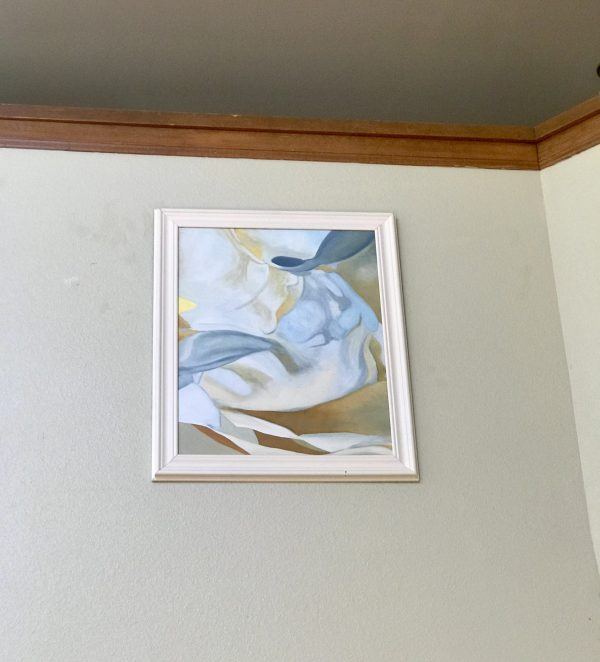 Peonies #12, Framed, Blue, White, Brown