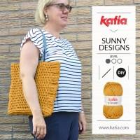 Gehäkelte Totebag aus Scuby Soft von Sunny Designs: Eine quadratische Tasche mit Reliefstäbchen