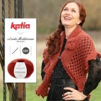 Gehäkeltes Lacetuch Winter Rose von Linda Modderman aus Katia Alpaca Gold