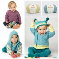 It's time to take a stroll! Warmly dressed babies with Katia yarns: Peques Plus, Bombon and Baby Soft 3.5