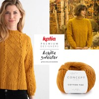 Top-down sweater with cables and bobble pattern designed by Alice Hammer for Premium Designers