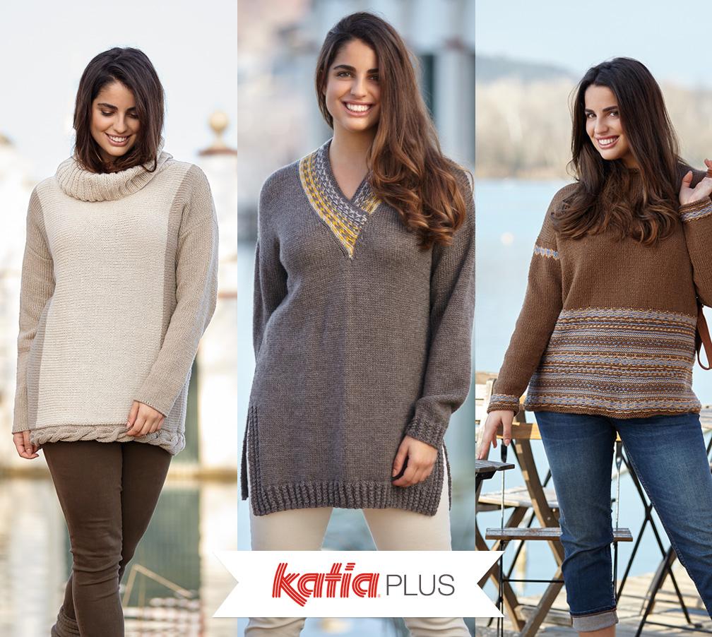 Katia Plus: des patrons de tricot pour les tailles 46 à 56