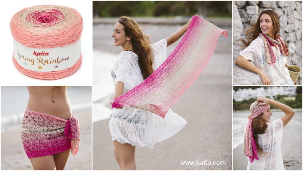 Un châle-pareo: l'accessoire multiusage à crocheter avec une seule pelote de Katia Spring Rainbow