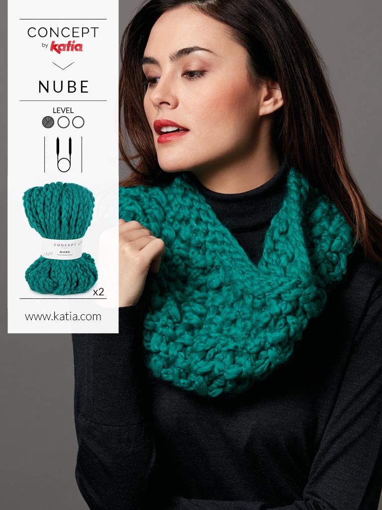 tricoter avec des aguilles circulaires nube