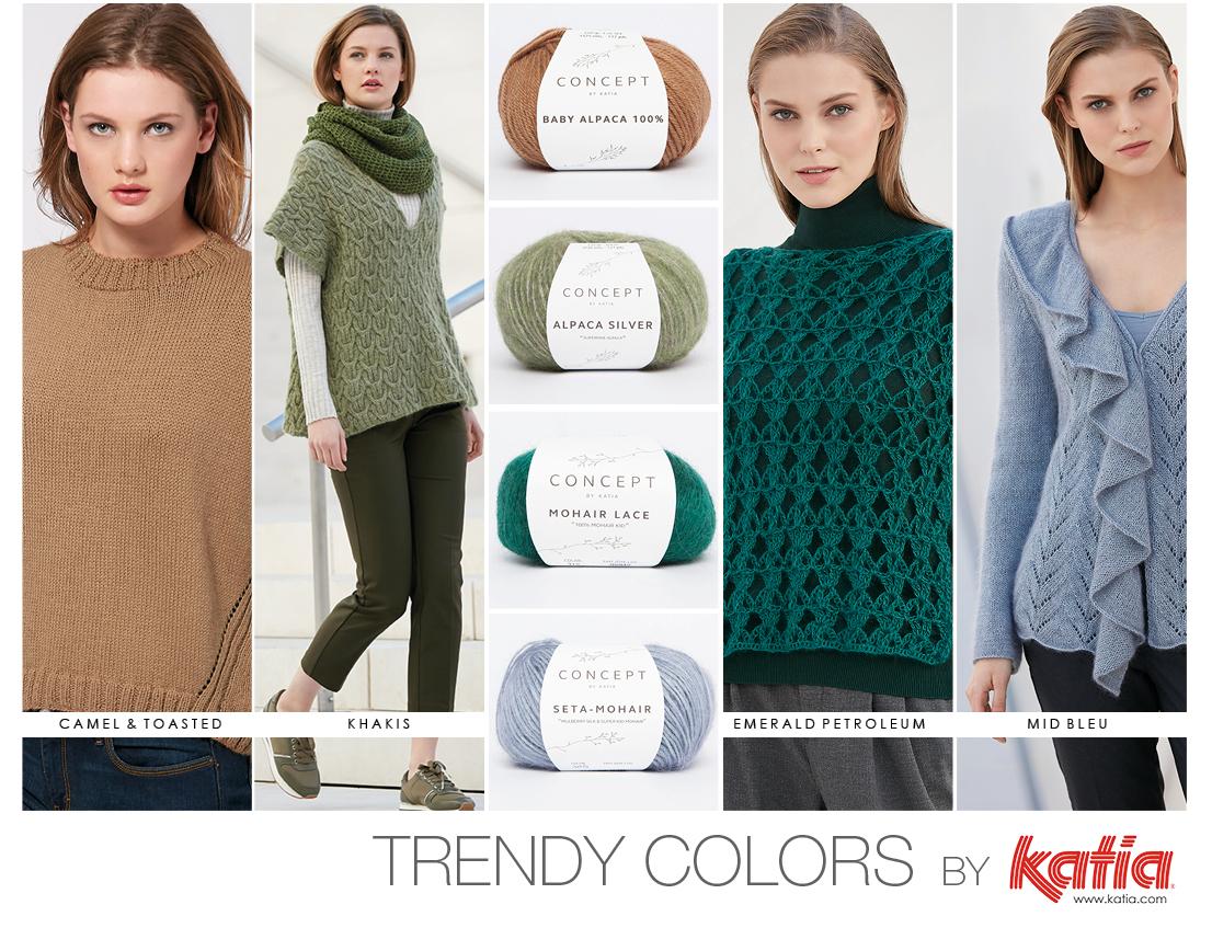 Découvrez 4 couleurs tendances Automne Hiver 17/18 dans les laines et la nouvelle revue Katia Concept