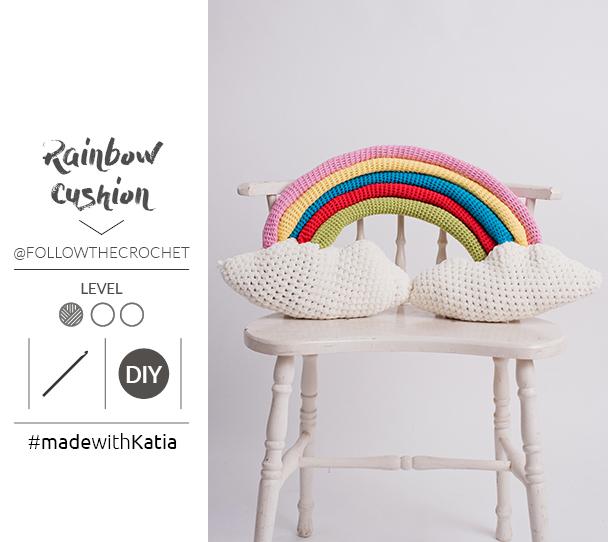 coussin rainbow au crochet patron
