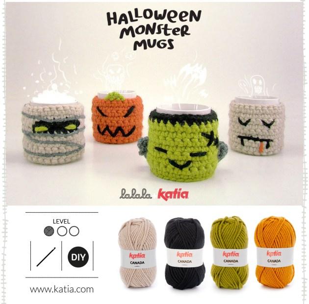 couvre-tasses au crochet halloween