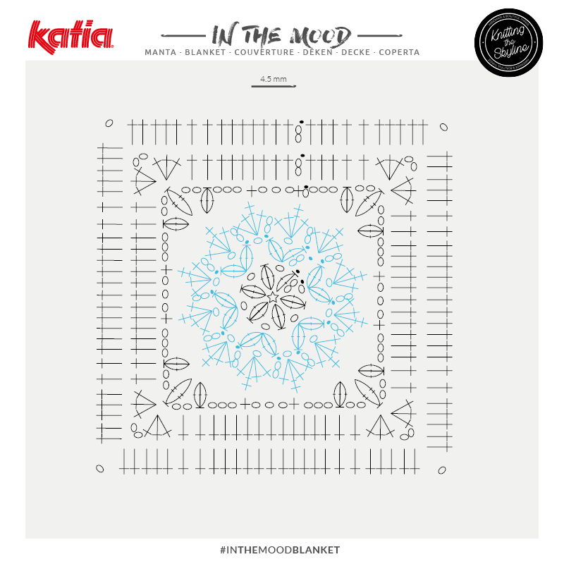 graphique crochet couverture émotions In the mood blanket peonia