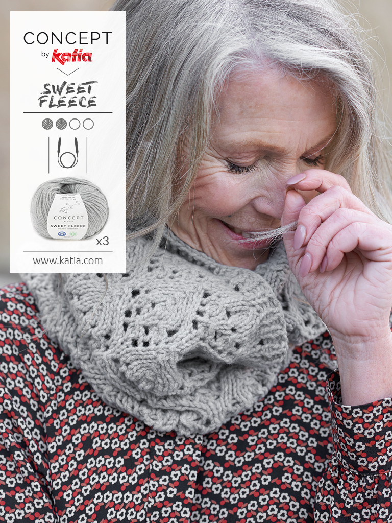 snood tricot aiguilles circulaires sweet fleece