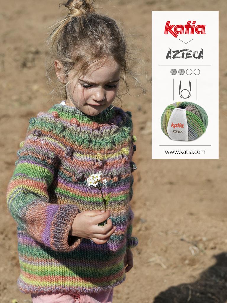 pull enfant tricot aiguilles circulaires azteca