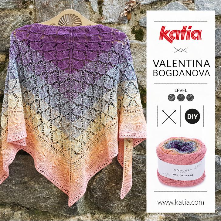 Châle tricoté en mailles ajourées de Valentinasknits: Tricotez ce modèle de diamants et fleurs avec une seule pelote de Silk Degradé