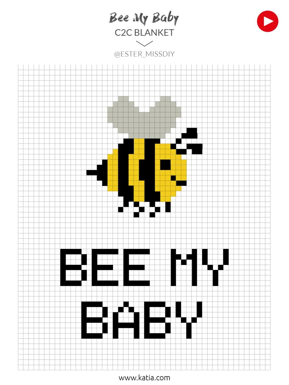 crochet c2c bee my baby schéma