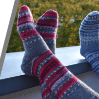 Een perfect paar sokken breien met slechts 1 bol Katia Jacquard Symmetric Socks