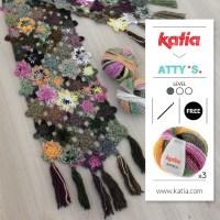 Gratis haakpatroon: gehaakte bloemensjaal door Atty van Norel met 3 bollen Katia Azteca