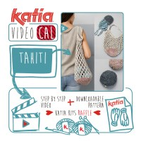 Make a practical fold away crochet bag in net stitch using Katia Tahiti. A kit to knit the next VideoKAL could be yours!