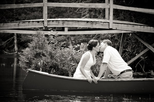 Out in the canoe by the bridge where Chris proposed.