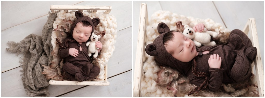 Macomb Posed Studio Newborn Photographer baby boy in tiny bed with bear