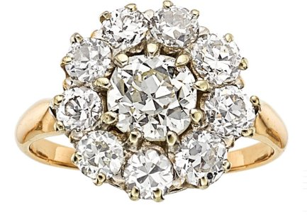 Old European Cut Diamonds Halo Ring