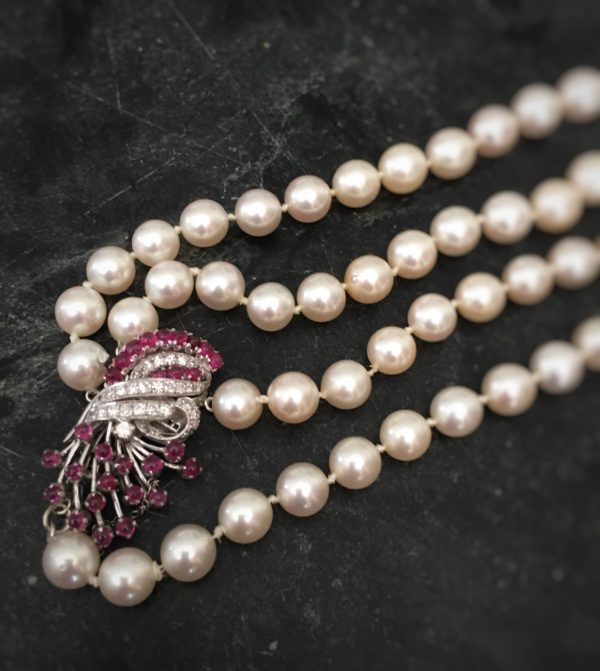 Antique Art Deco Cultured Pearl, Ruby, and Diamond Double Strand Necklace Jewelry