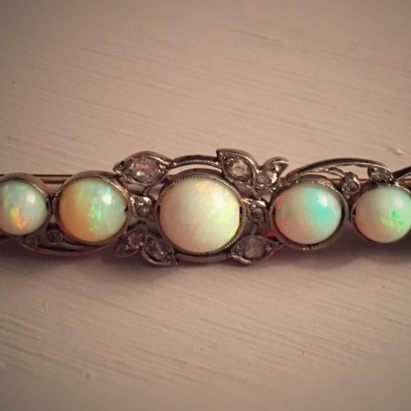 Victorian Yellow Gold and Platinum Opal and Diamond Bar Pin (Antique)