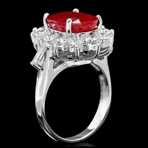 Estate Stunning 14kt White Gold, Ruby and Diamond Cocktail Ring