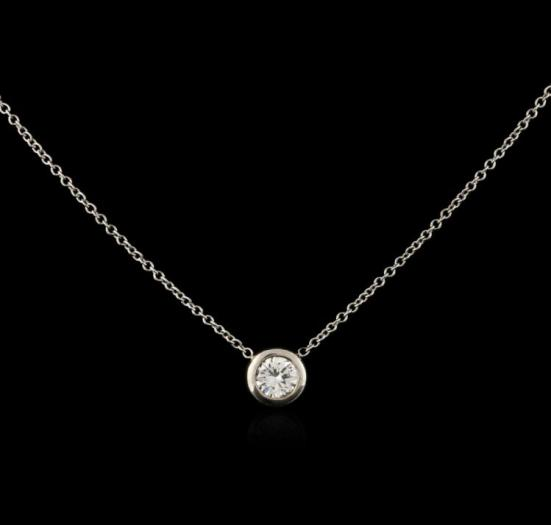 Vintage Look 14kt White Gold Diamond Solitaire Pendant Jewelry