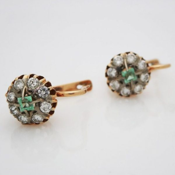 Antique Russian 14kt Yellow Gold Lever Back Emerald And Diamond Earrings