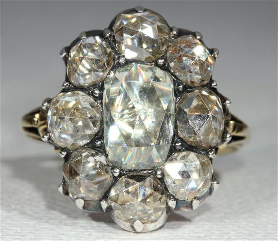 Antique Georgian Period Rose Cut Diamond Cluster Ring