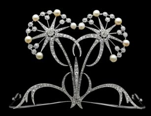 Edwardian Platinum, Diamond and Pearl Tiara