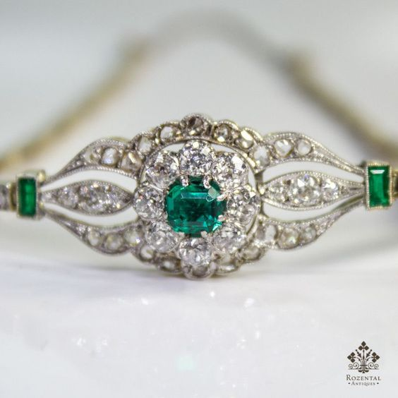 Antique Edwardian 18k Gold Diamond & Emerald Bracelet