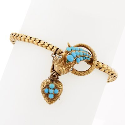 Antique Victorian Turquoise Diamond and Gold Serpent Bracelet