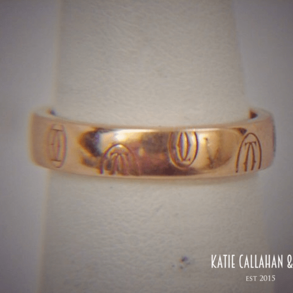 Vintage Cartier 18kt Yellow Gold Band Ring with Logo