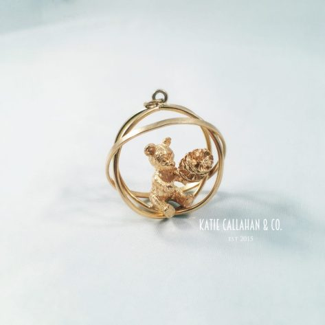 Retro Modern Period 14kt Yellow Gold Bear with a Pine Cone Charm (Vintage)