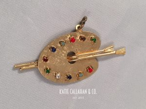 14kt Yellow Gold & Semi-Precious Gemstone Painter's Palette Charm (Vintage)