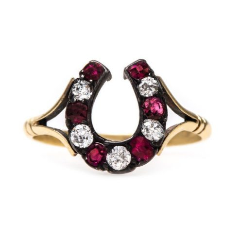 Victorian ruby and diamond horseshoe style ring