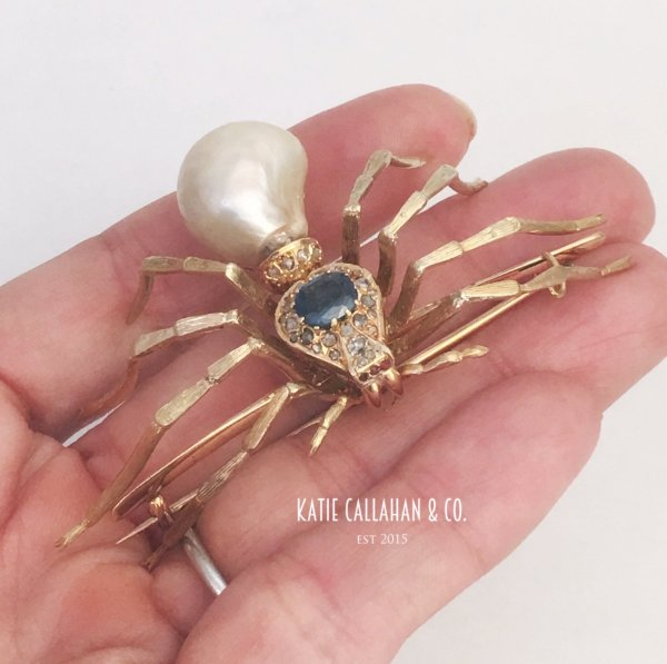 Victorian Antique 18kt Yellow Gold, Pearl, Sapphire and Ruby Spider Pin