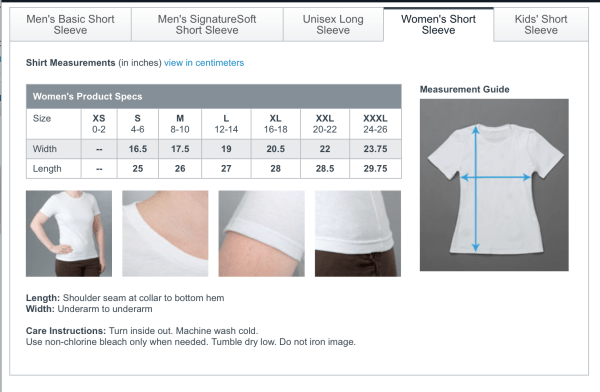 T-shirt sizing - women's