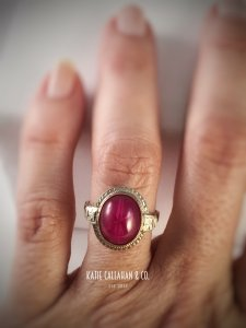 Star Ruby (Created) Ring in 14kt White Gold (Vintage)