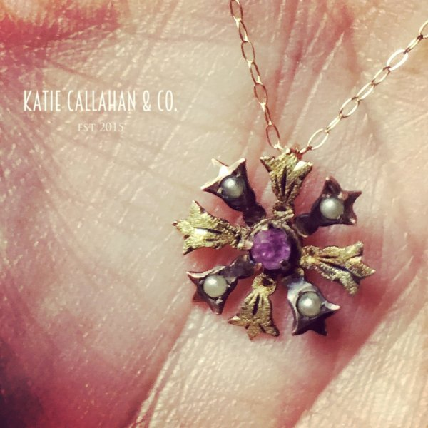 Edwardian 10kt Yellow Gold, Amethyst and Seed Pearl Pendant (stick pin conversion - Antique)