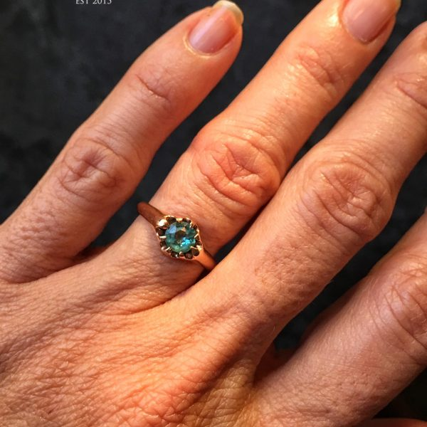 Blue-Green Garnet And Rose Gold Victorian Ring (Antique)