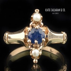 Victorian 10kt Yellow Gold Sapphire and Seed Pearl Ring (Antique)
