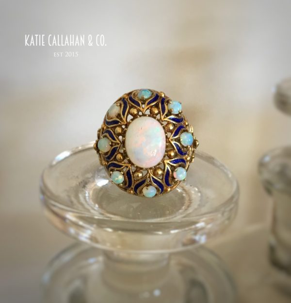 Opal and Enamel 14kt Yellow Gold Ring (Vintage)