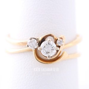 Retro 14kt Yellow Gold 3 Diamond Wedding Set (Vintage)