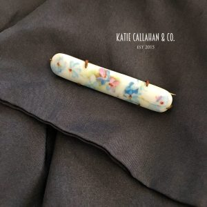 Hand-Painted Porcelain Floral Bar Pin (Antique)