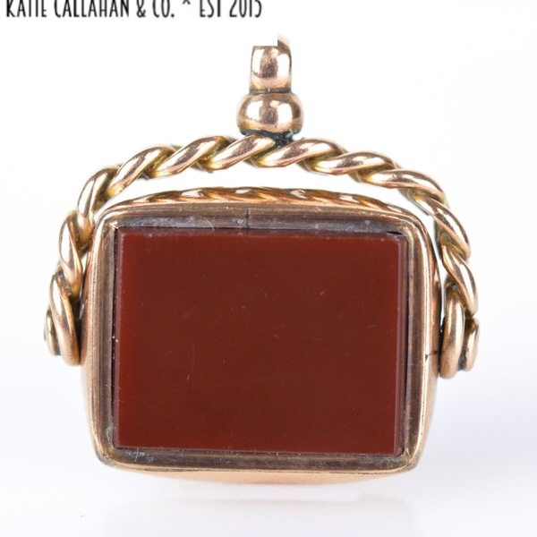 Carnelian And Bloodstone 10kt Yellow Gold Watch Fob (Antique)